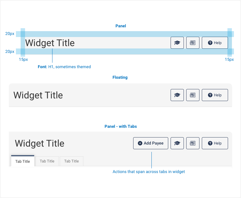 A visual of three Marquee examples. The first example is a panel marquee includes a H1 titles, that is sometimes themed, padding on top and bottom is 20 pixels, left and right padding is 15 pixels. The second visual includes a floating marquee with Title and 3 buttons justified right. The third marquee is a panel with tabs, a title, an add payee action button, three buttons and three primary tabs
